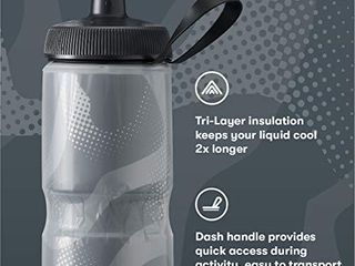 Polar Bottle Sport Insulated Water Bottle   BPA Free  Sport   Bike Squeeze Bottle with Handle  Fade   Royal Blue   Silver  24 oz