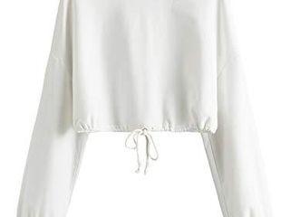 MAKEMECHIC Women s Causal Plain Drop Shoulder Pullover Crop Top Sweatshirt A White l