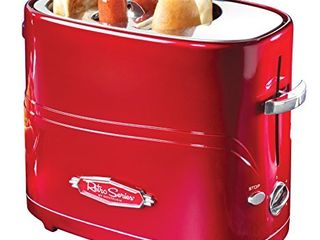 Nostalgia HDT600RETRORED Pop Up 2 Hot Dog and Bun Toaster With Mini Tongs Works with Chicken  Turkey  Veggie links  Sausages and Brats  Pack of 1  Retro Red