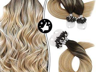 Moresoo 16 Inch Microlink loop Hair Extensions Human Hair Microbead Remy Hair Extensions Balayage Color  2 Darkest Brown to  27 Mixed  613 Bleach Blonde Micro Bead Human Hair Extensions 50s 50g