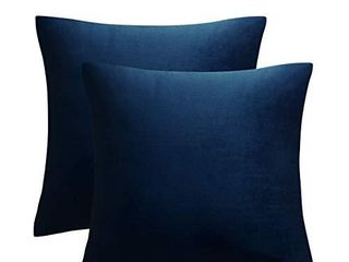 JUSPURBET Decorative Velvet Throw Pillows Covers for Couch Bed Sofa Pack of 2 luxury Solid Soft Cushion Cases 26x26 Inches Navy Blue