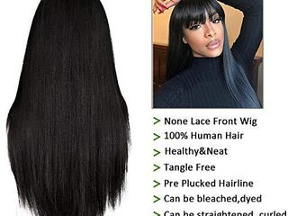 liwihas Silky Brazilian Virgin Straight Human Hair Wigs with Bangs 130  Density None lace Front Wigs Glueless Machine Made Wigs for Black Women Natural Color  16inch  Straight Wigs
