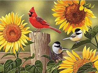 Bits and Pieces   300 large Piece Jigsaw Puzzle for Adults   Sunflower and Songbirds   300 pc Cardinal Jigsaw by Artist William Vanderdasson