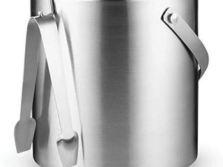 Double Wall Stainless Steel Insulated Ice Bucket With lid and Ice Tong  3 liter  Included Strainer Keeps Ice Cold   Dry  comfortable Carry Handle  Great for Home Bar  Chilling Beer  Champagne and wine