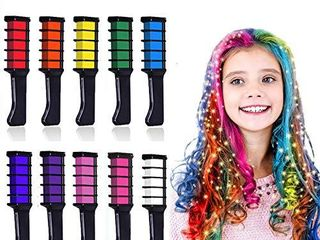10 Colors Hair Chalk for Girls Kids  Kalolary Temporary Bright Hair Color Dye for Girls Age 4 5 6 7 8 9 10  Washable Hair Chalk Comb for New Year Birthday Party Cosplay DIY