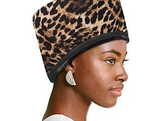 VICARKO Hair Steamer Thermal Heat Cap Deep Conditioning Natural Black Hair Scalp Treatment Spa Hot Head Care Electric for Home Use Animal Print