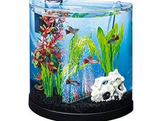 Tetra ColorFusion Starter aquarium Kit 3 Gallons  Half Moon Shape  With Bubbler And Color Changing light Disc