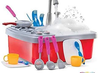 Play22 Kitchen Sink Toy 17 Set   Play Sink Play House Pretend Toy Kitchen Sink with Running Water   Kids Toy Sink with Real Faucet   Drain  Dishes  Utensils   Stove   Kitchen Toys for Toddlers   Kids