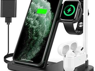 Powlaken Wireless Charger  4 in 1 Wireless Charging Station Dock for Apple iWatch Series Se 6 5 4 3 2 1  AirPods Pro and Pencil  Charging Stand for iPhone 11  11 Pro max  Xr  Xs max  X