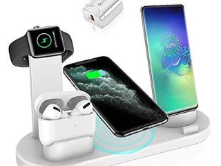 Wireless Charger  4 in 1 Wireless Charging Station Qi Fast Wireless Charging Stand Dock Compatible with Apple Watch Airpods iPhone 11 Pro Xs Max Samsung Galaxy S9 with AC Adapter and USB Port White