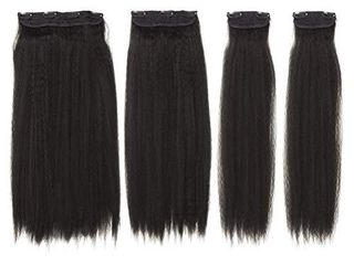 DOCUTE Natural Black Yaki Kinkys Curly Hair Extensions Clip In For Black Women 4 Pieces 22 Inch Afro Kinky Curly Straight Clip In On Hair Extensions Classic Hair Pieces For DIY Natual Black 1B  YAKI