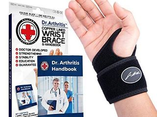 Doctor Developed Premium Copper lined Wrist Support   Wrist Strap   Wrist Brace   Hand Support  Single    Doctor Written Handbook Suitable for both right and left hands