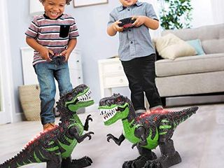 TEMI 8 Channels 2 4G Remote Control Dinosaur for Kids Boys Girls  Electronic RC Toys Educational Walking Tyrannosaurus Rex with lights and Sounds Powered by Rechargeable Battery  360 Rotation Stunt