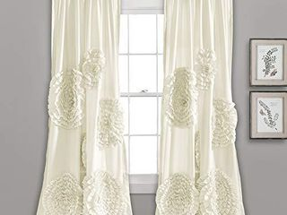 lush Decor  Ivory Serena Window Panel for living  Dining Room  Bedroom  Single Curtain  84 x 54 l