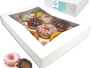 18 Pack  16x12x2 25 White Bakery Box with Window   Holds 12 Donuts  Auto Popup Cardboard Gift Packaging and Baking Containers  Cookies  Brownies  Pastry and Bread Boxes