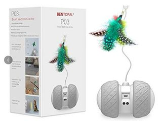 Interactive Robotic Cat Toys Automatic Irregular USB Charging 360 Degree Self Rotating Ball Automatic Feathers Birds Mouse Toys for Cats Kitten Build in Spinning led light large Capacity Battery