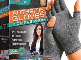 Comfy Brace Arthritis Hand Compression Gloves Comfy Fit  Fingerless Design  Breathable   Moisture Wicking Fabric Alleviate Rheumatoid Pains  Ease Muscle Tension  Relieve Carpal Tunnel Aches large