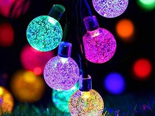 Solar String lights Outdoor   50lED Globe Fairy Waterproof lights   8 Mode 7M 24Ft Indoor Outdoor Solar String lights for Garden  Patio Yard  Home  Christmas  Parties  Wedding  Multi Colored
