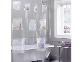 Maytex Quick Dry Mesh Pockets Waterproof PEVA Shower Curtain or liner  Bath   Shower Organizer  Clear  70 inches x 72 inches