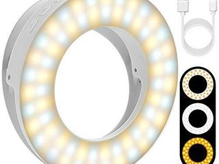 Disnadda Selfie Ring light Upgrades Version 3 lighting Modes Rechargeable Clip on Selfie light with 60 led for iPhone laptop Smart Phone Photography Video conferencing  Girl Makes Up White