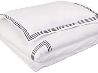 Amazon Basics Embroidered Hotel Stitch Duvet Cover Set   Premium  Soft  Easy Wash Microfiber   Twin Twin Xl  White with Dark Grey Embroidery