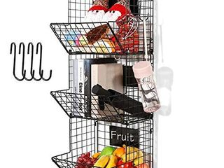 3 Tier Hanging Wire Basket   Wall Mounted Storage Bins for Pantry with Removable Chalkboards  Kitchen Fruit and Vegetable Storage Baskets  Metal Shelves Pantry Organization Containers Rack Produce Bin