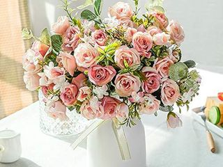 lESING Artificial Silk Rose with Vase Fake Flowers Wedding Flowers Bouquets Arrangement Home Office Party Centerpiece Table Decoration  Pink
