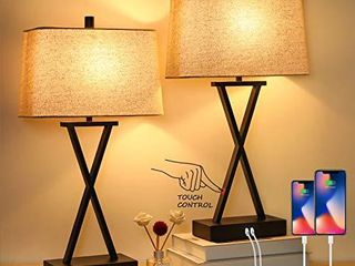 Set of 2 Touch Control 3 Way Dimmable Table lamp Modern Nightstand lamp with 2 USB Port Bedside Desk lamp with Fabric Shade for living Room Bedroom Hotel  Cream  Bulbs Included