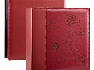 Artmag Photo Picutre Album 4x6 400 Photos  Extra large Capacity leather Cover Wedding Family Photo Albums Holds 400 Vertical 4x6 Photos with White Pages Red