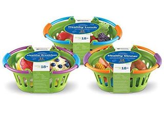 learning Resources New Sprouts Healthy Foods Basket Bundle  Pretend Toddler Food  Healthy Play Food for Kids  37 Pieces of Play Food  Ages 18 Months