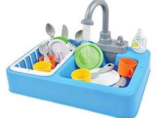 Sunny Days Entertainment Kitchen Sink Play Set with Running Water 20 Piece Pretend Play Toy for Boys and Girls   Kids Kitchen Role Play Dishwasher Toys
