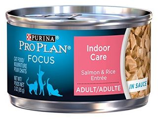 Purina Pro Plan Hairball  Indoor Wet Cat Food  FOCUS Indoor Care Salmon   Rice Entree in Sauce    24  3 oz  Pull Top Cans