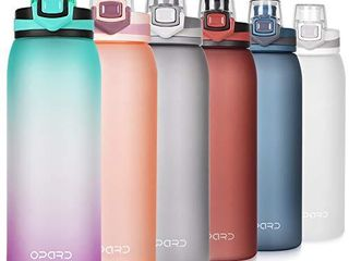 Opard 30oz Sports Water Bottle with leak Proof Flip Top lid BPA Free Tritan Reusable Plastic for Gym and Outdoor  Green Purple Gradient
