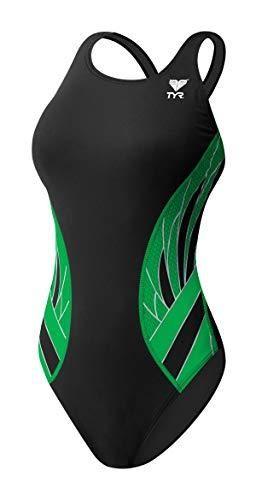 TYR Phoenix Splice Maxfit Swimsuit  Black Green  Size 40