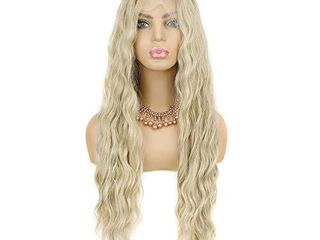 lace Front Wigs  13x6 lace Front Wig Heat Resistant Fibre Blonde lace Front Wig GlZWIG Natural Wave Ombre long Blonde Wig Synthetic lace Front Wigs for Women