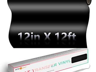 HTVRONT Black Heat Transfer Vinyl Roll   12  x 12ft Black Iron on Vinyl  Clothing Heavy Duty Black HTV Vinyl  Easy to Cut   Weed