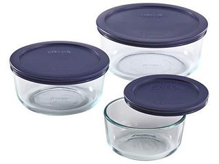 Pyrex Simply Store Meal Prep Glass Food Storage Containers  6 Piece Set  BPA Free lids  Oven Safe