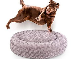 Dog Beds for Medium Dogs Calming Pet Bed for Small Dogs Bed Furniture Donut Round Anti Anxiety Dog Bed Doggy Bed Fluffy Fuzzy Cat Bed Cuddler Camas para Perros Dark Gray 32 Inch