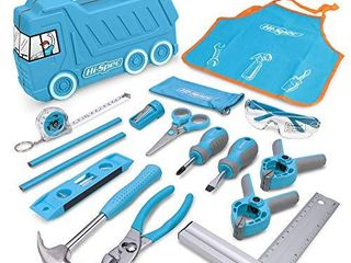 Hi Spec 17 Piece Kids Tool Kit with Blue Truck Tool Box  Kids Apron with Pockets  Safety Glasses  level  REAl Small Size Hand Tools  Safety Scissors DIY Construction Educational Childrens Tool Set