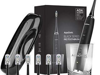 AquaSonic Black Series PRO   Ultra Whitening 40 000 VPM Rechargeable Electric Toothbrush ADA Accepted   Wireless Charging Glass   6 Proflex Brush Heads   Travel Case 4 Modes   Smart Timer  Sonic