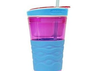 Snackeez Travel Snack   Drink Cup with Straw  Pink