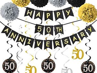 50th Anniversary Decorations Kit   50th Wedding Anniversary Party Decorations Supplies   Including Gold Glitter Happy 50th Anniversary Banner   9Pcs Sparkling 50 Hanging Swirl  6Pcs Poms