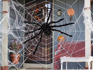 HOOJO Halloween 60  Giant Fake Spider Web Decoration  with 200  Spider Web for Outdoor  Indoor Halloween Decoration in Yard  lawn and Garden  Haunted House  Costumes Party suppliers