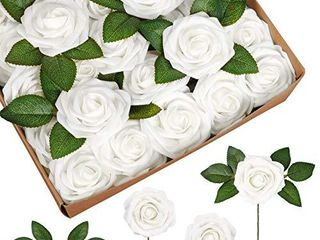 InnoGear Artificial Flowers  50 Pcs Faux Flowers Fake Flowers White Roses Perfect for DIY Wedding Bouquets Centerpieces Bridal Shower Party Home Flower Arrangement Decorations