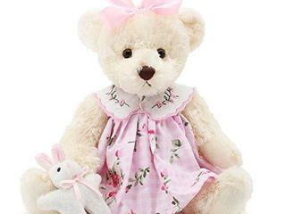 Oitscute Small Baby Teddy Bear with Cloth Cute Stuffed Animal Soft Plush Toy 10   Pink Dress with Rabbit