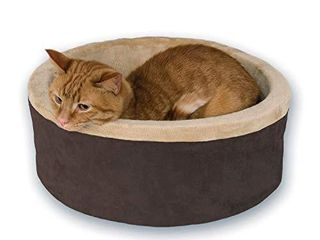 K H Pet Products Thermo Kitty Heated Pet Bed Small Mocha 16  4W