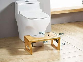 AmazerBath 7 Inch Bamboo Squatting Toilet Stool Collapsible Toilet Potty Stool for Bathroom  Men  Women  Burlywood Color