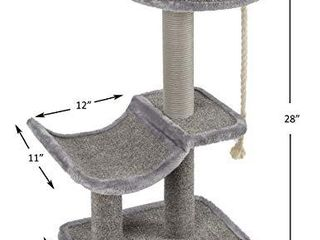Catry Cat Tree Cradle Bed with Natural Sisal Scratching Posts and Teasing Rope for Kitten  Grey