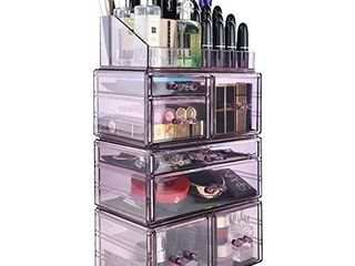 InnSweet 4 Pieces Makeup Organizer Cosmetic Storage Drawers and Jewelry Display Box  Acrylic Makeup Holders with 7 Drawers  Purple
