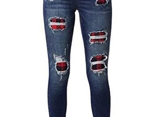 Sexyshine Women s High Waisted Plaid Patch Destroyed Ripped Hole Denim Pants long Stretch Jeans 7064ZQ 2Xl